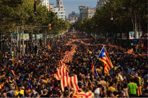 Demonstrators march for Catalonia's National Day on September 11, 2013 in Barcelona, Spain. ©BOUIN News