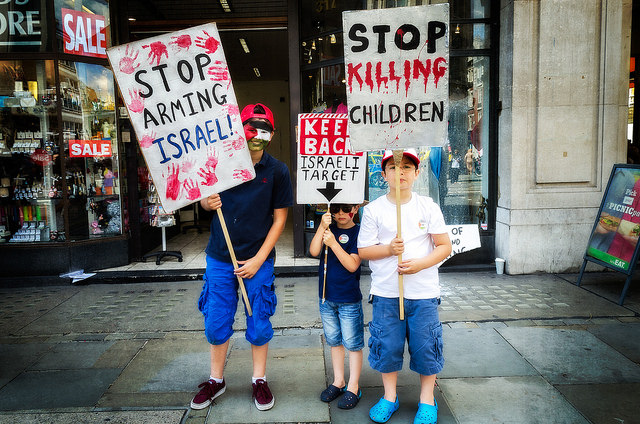 Children at a Gaza March and Rally in London in August 2014