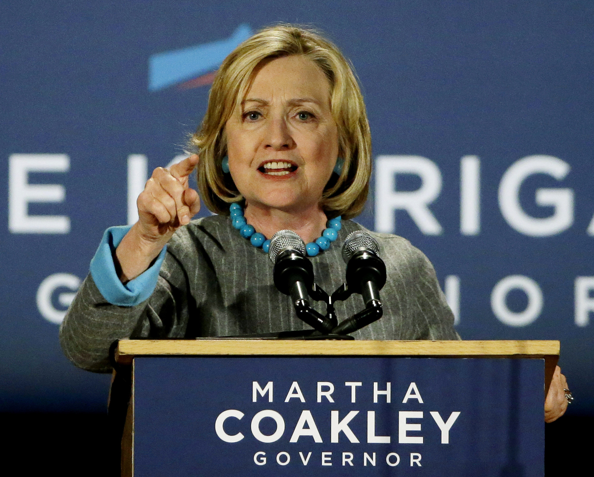 Hillary Clinton at Friday's rally for Martha Coakley, courtesy of USA Today.